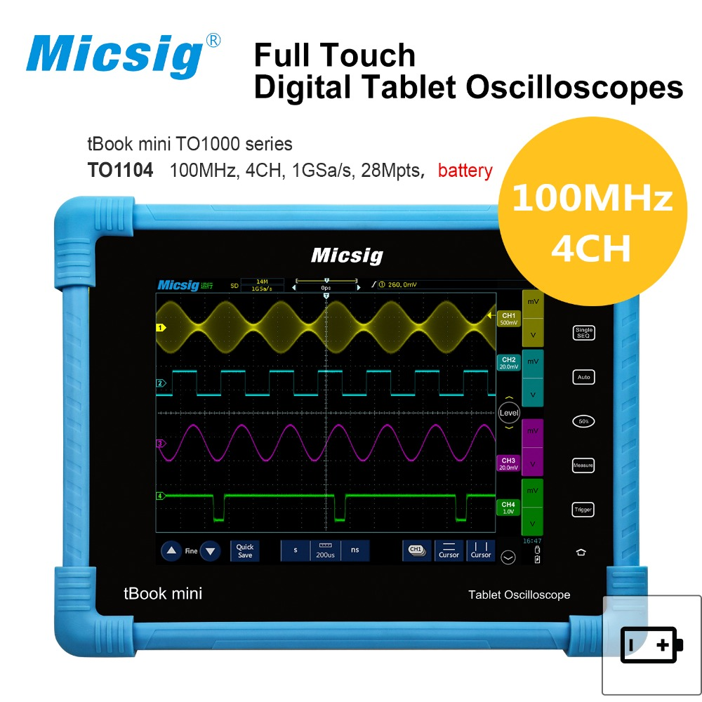 все цены на 2017 new Digital Tablet Oscilloscope TO1104 100MHz 4CH 28Mpts Automotive diagnostic oscilloscope touchscreen онлайн