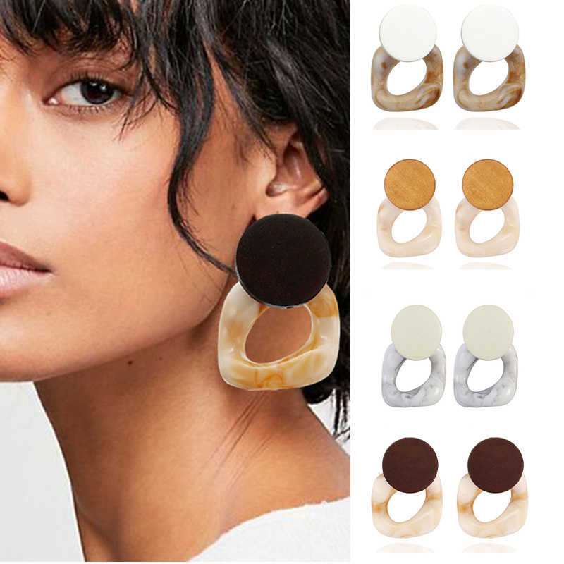 e476 Fashion Big Resin Drop Earrings For Women 2019 New Acetic Acid Large Korea Square Earrings Trendy Wood Geometric Jewelry