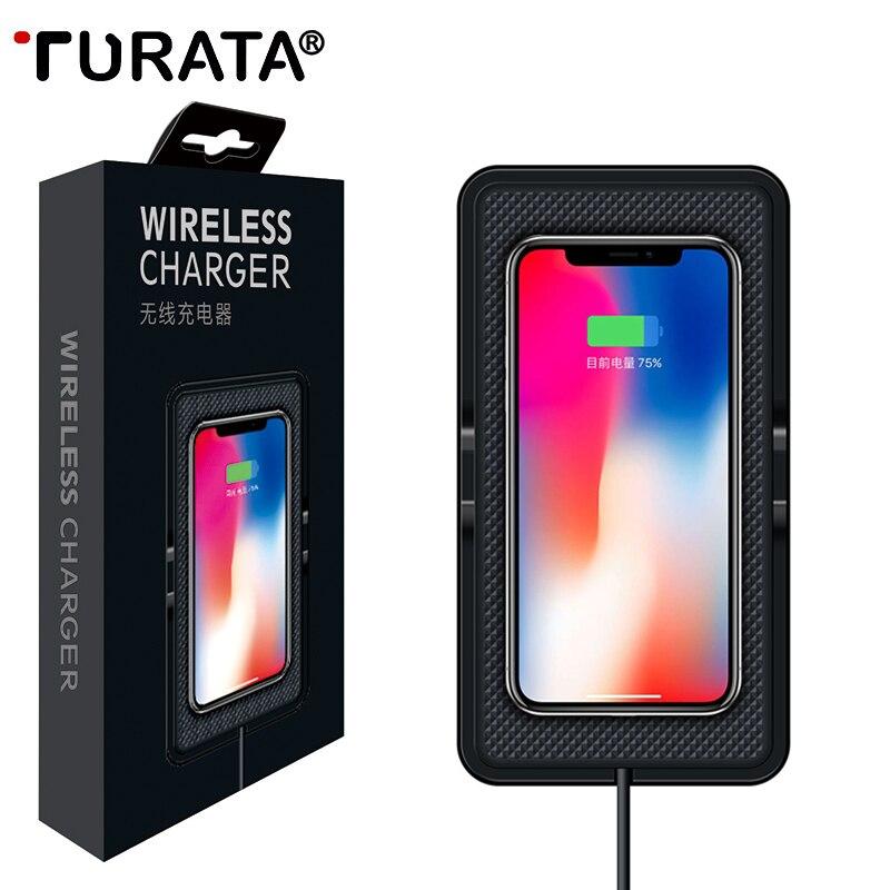 TURATA Qi Wireless Caricabatteria Da Auto Per Samsung S8 Più Cruscotto Del Supporto Del Supporto Antiscivolo In Silicone Universale Zerbino Del Basamento Per iPhone 7 LG