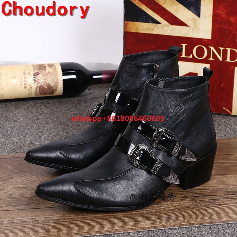 Choudory Luxury Brand  Winter High Top Boots Pointed Toe Side Zipper Leather Shoes Man High Heels Punk Rock Boots Size12