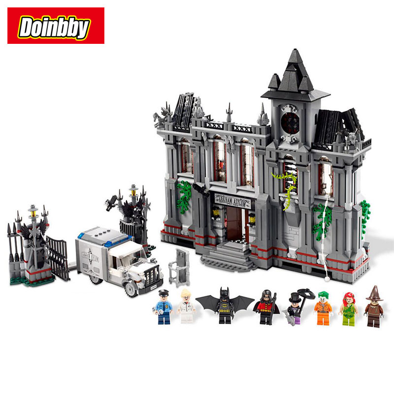Batman Arkham Asylum Breakout Super Heroes DC Superhero Movie Building Bricks Blocks Toys Compatible 10937 moc 1128pcs the batman movie bane s nuclear boom truck super heroes building blocks bricks kids toys gifts not include minifig