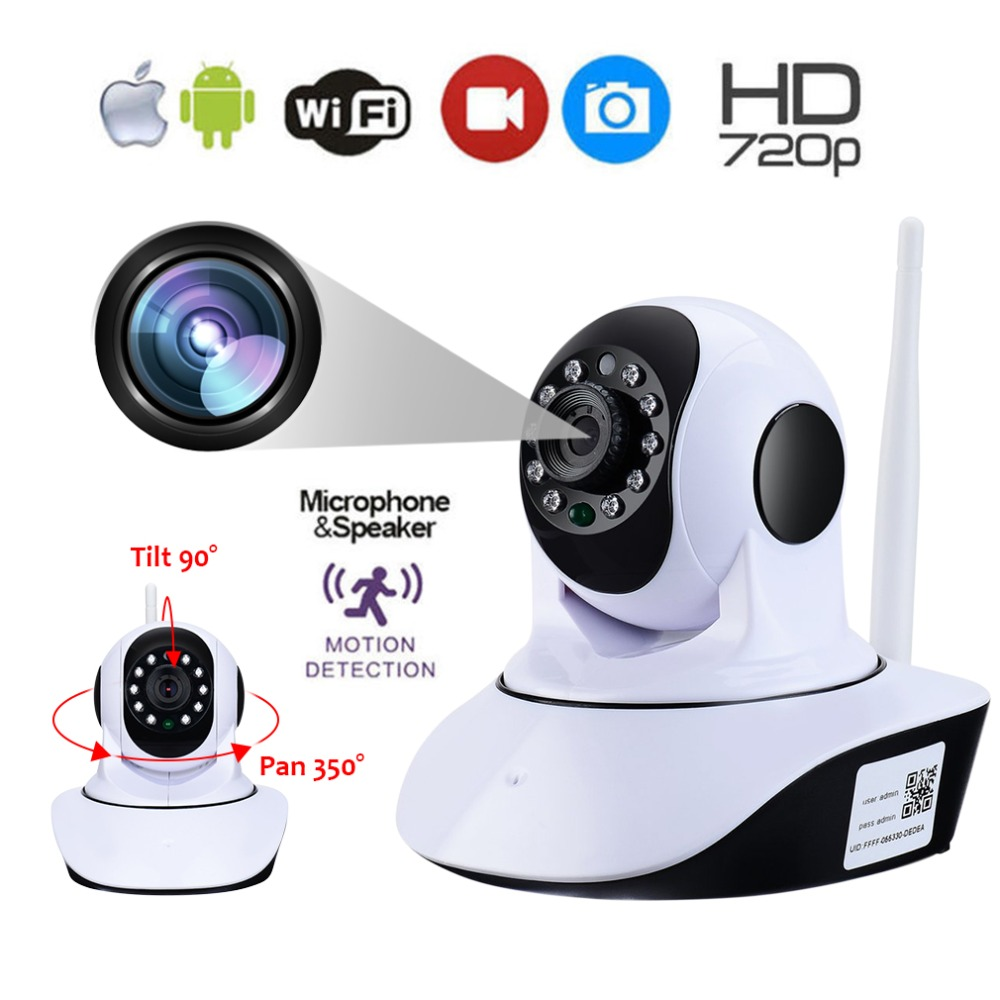 LESHP Wireless WiFi IP Camera 1280*720 HD Household Baby Monitor TF Card Record Audio Video Surveillance Camera Plug and Play