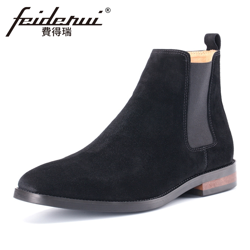 Plus Size New Arrival Cow Suede Leather Men's Chelsea Martin Ankle Boots Round Toe Formal Cowboy Riding Shoes For Man MLT74 new arrival basic cow suede leather men s riding ankle boots round toe lace up high top handmade cowboy martin man shoes ymx591