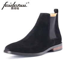 Plus Size New Arrival Cow Suede Leather Men's Chelsea Martin Ankle Boots Round Toe Formal Cowboy Riding Shoes For Man MLT74