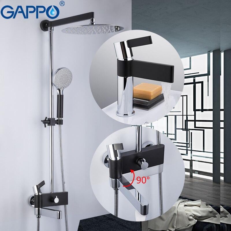 GAPPO robinets de baignoire robinet d'eau en laiton chrome et noir robinet de bain mélangeur ensemble de douche avec robinet de lavabo salle de bains système de douche