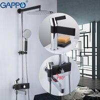 Gappo banheira torneiras de bronze torneira água chrome e preto banho misturador do chuveiro conjunto com torneira da bacia do banheiro sistema chuveiro