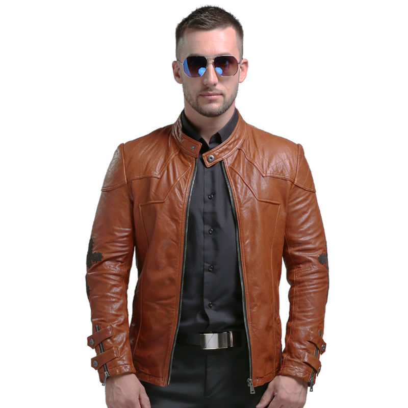 AIBIANOCEL Winter Mens Genuine Leather Jackets Men Real Leather Coat Sheepskin Leather Jacket Embroidery Genuine Leather Coat