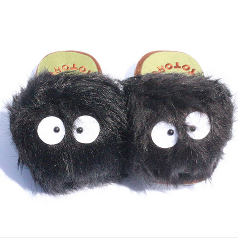 1Pair 11 My Neighbor Totoro Ghibli Dust Bunny Adult Plush toys Doll Slipper Totoro slippers BLACK totoro dust bunny slippers image