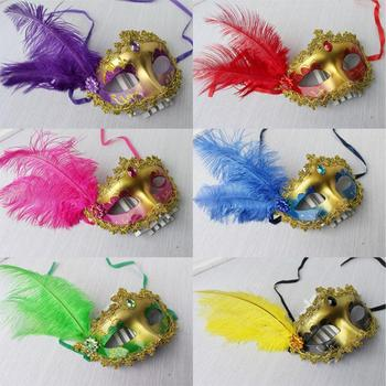 Women Girls Ostrich Feather masquerade masks Crystal Diamond Lace Mask Venetian Mask Half Face Sexy Club Dance Cosplay Masks