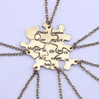 6 Best Friend Necklace Puzzle Always Together
