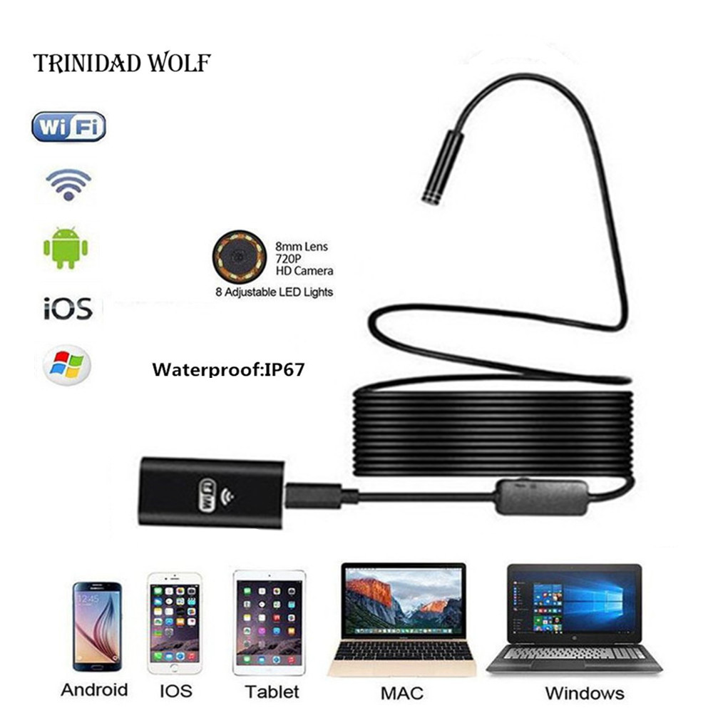 TRINIDAD WOLF 720P Wifi Endoscope Camera Waterproof Semi Rigid Hard Tube and Softwire for Android IOS mini camera Inspection antscope wifi endoscope camera android 8mm 2 0mp 720p borescope mini camera semi rigid hard tube and softwire car inspection