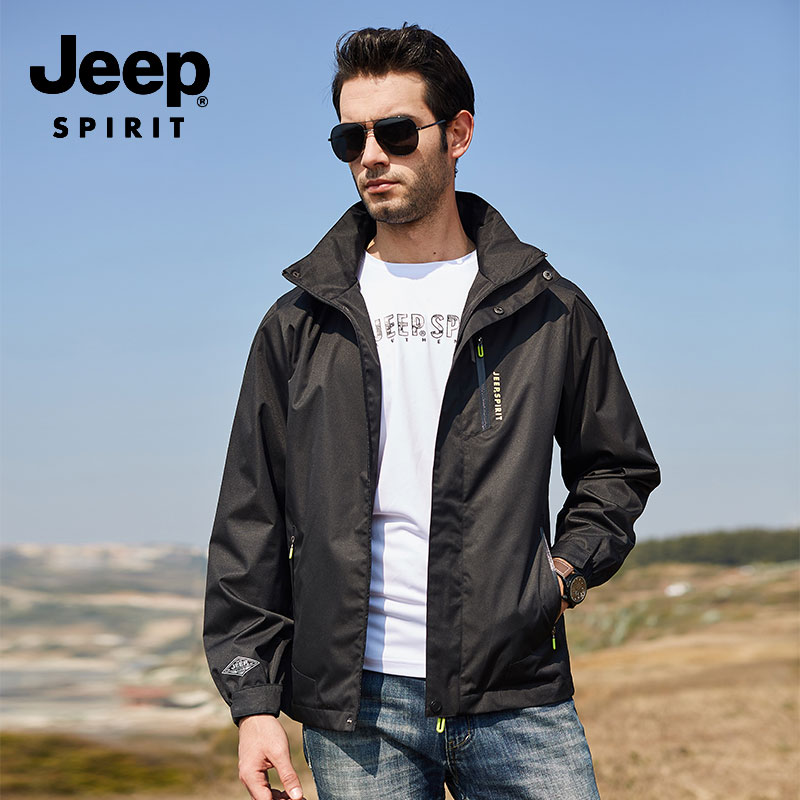 Men Clothes JEEP New Autumn Cargo Jackets Coat Military Hooded Quick Dry Clothes Long Sleeve Solid Color Fashion Jacket Original