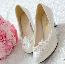 Handmade wedding shoes white color lace middle heel or custom make your own heel bridal brides shoes on sales XNA 083