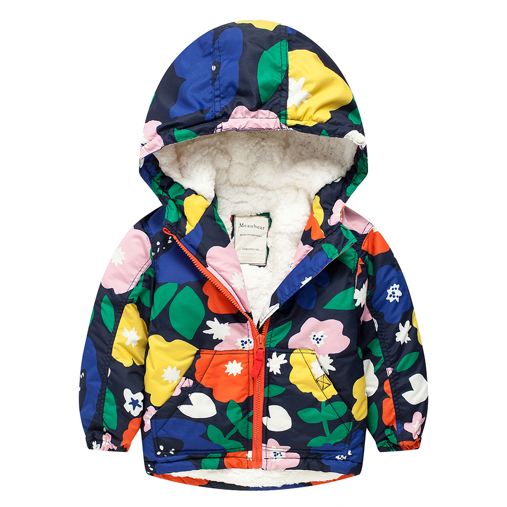 Meanbear MY01 Fashion Big Flower Winter Cotton Child Thicken Padded Lining Jacket Hoodies Keep Warm Boy Girl Coat Tops Outwear