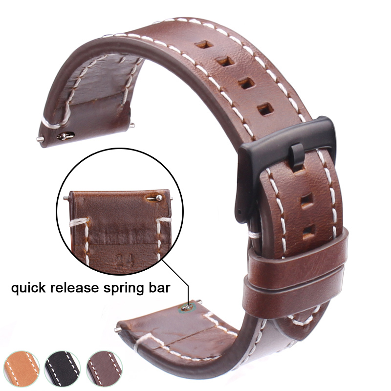 Genuine Leather Watchbands 18mm 20mm 22mm 24mm Black Dark Brown Women Men Cowhide Watch Band Strap Belt With Buckle 22mm 24mm black mens genuine leather watch strap band