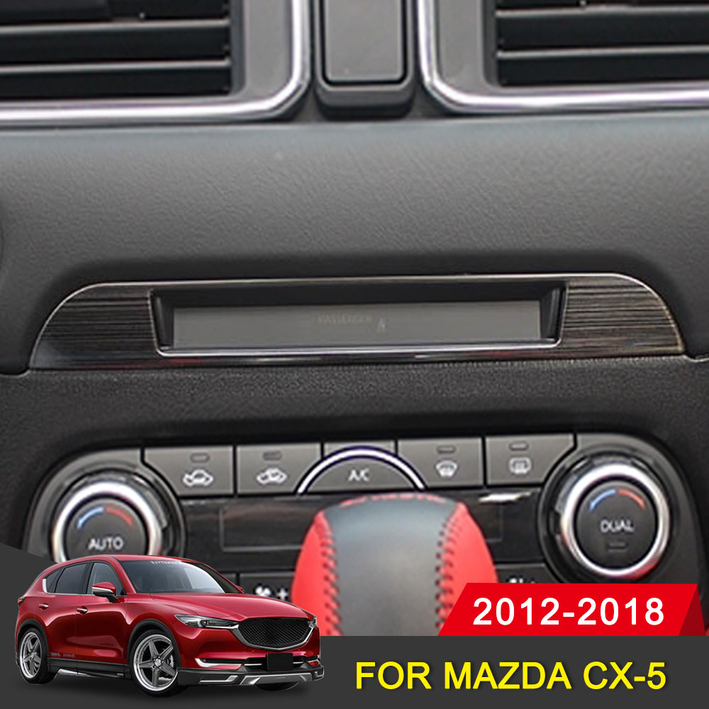 Car Middle CD Console Dashboard Trim Sticker Frame Cover For <font><b>Mazda</b></font> <font><b>CX</b></font>-<font><b>5</b></font> CX5 2017 <font><b>2018</b></font> 2019 <font><b>Interior</b></font> Decoration <font><b>Accessories</b></font> image