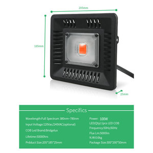 Image 5 - BUYBAY شاشة ليد بطيف كامل ينمو ضوء مقاوم للماء IP67 100 واط 200 واط 300 واط COB نمو كشاف ضوء للنباتات داخلي مشتل زراعة مائيّة