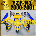 Motoegg Completed Set Fairing Fit YZF-R1 YZF R1 2000 2001 Flames Yellow Y10M29 Motorcycle ABS plastic