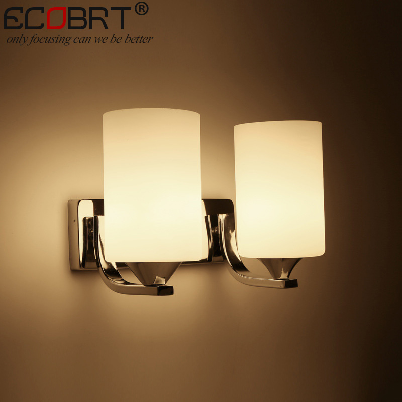 Ecobrt Factory Direct Sale Stainless Steel Glass Wall Lamps Hotel Bedroom Restaurant Bedside Light Lamp Corridor