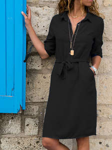 Shirt Dresses Buttons Sexy Plus-Size Casual Women Summer 3/4-Sleeve A-Line Turn-Down