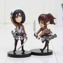 6pcs/set Anime Attack on Titan figures Eren Mikasa Ackerman Levi Rivaille PVC Action Figure Collectible Model Toys for children