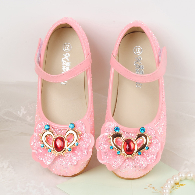 Kids Princess Flats Sequins Bowknot Fashion Dress Shoes Girls Party Wedding PU Leather Bling Bling Shoes White Pink Mocassins