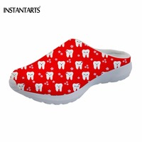 INSTANTARTS Casual Girls Summer Red Sandals Fashion Dentist/Teeth Print Beach Slippers for Teen Girls Lightweight Shoes Female