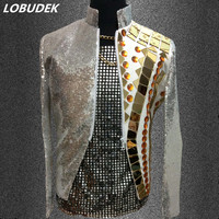Gold Mirrors Sequins Jacket Coat Male Clothes Singer Dancer Performance Outfit fashion nightclub Concert Host Stage Bar Costume