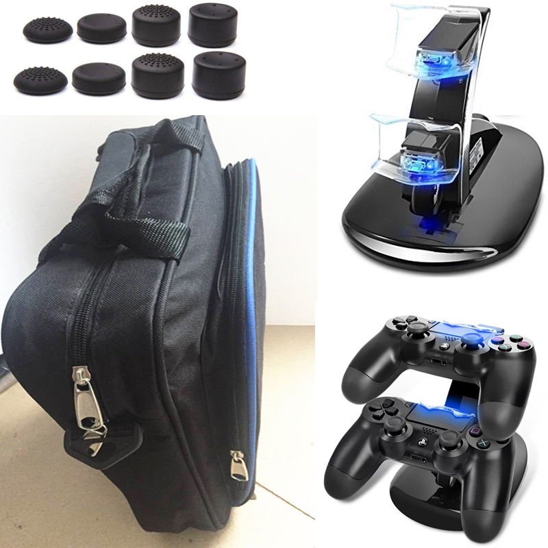 PS4 Slim PS4 Console Game System Bag Travel Storage Carry Case Protector Handbag+Dual Charger Station for PS4 Slim Playstation 4