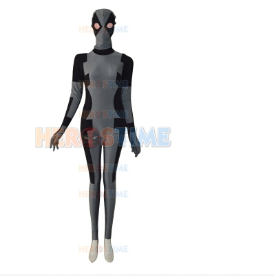 2014 New Grey  Deadpool Costume Deadpool superhero Costumes spandex full body Tight clothing