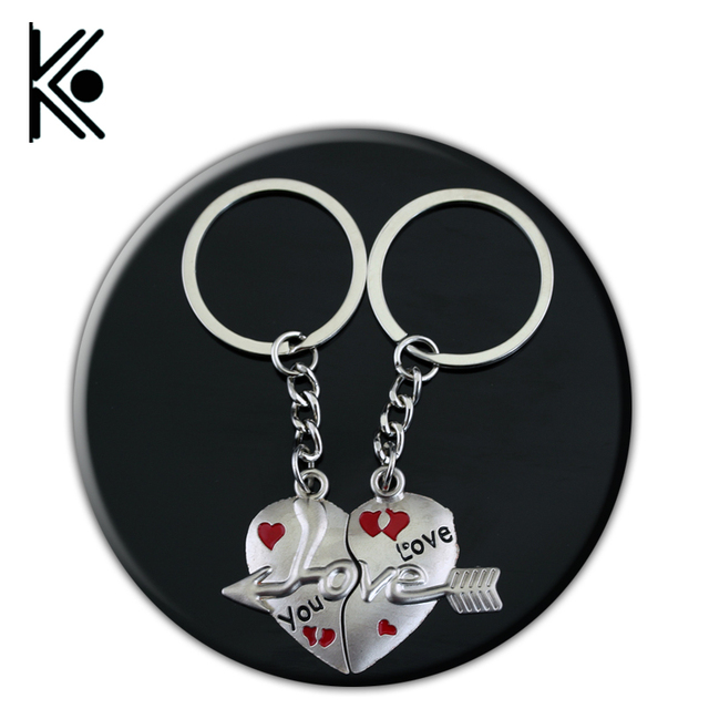 Couple Keychains I Love You Heart Keychain Ring Key Chain Lover