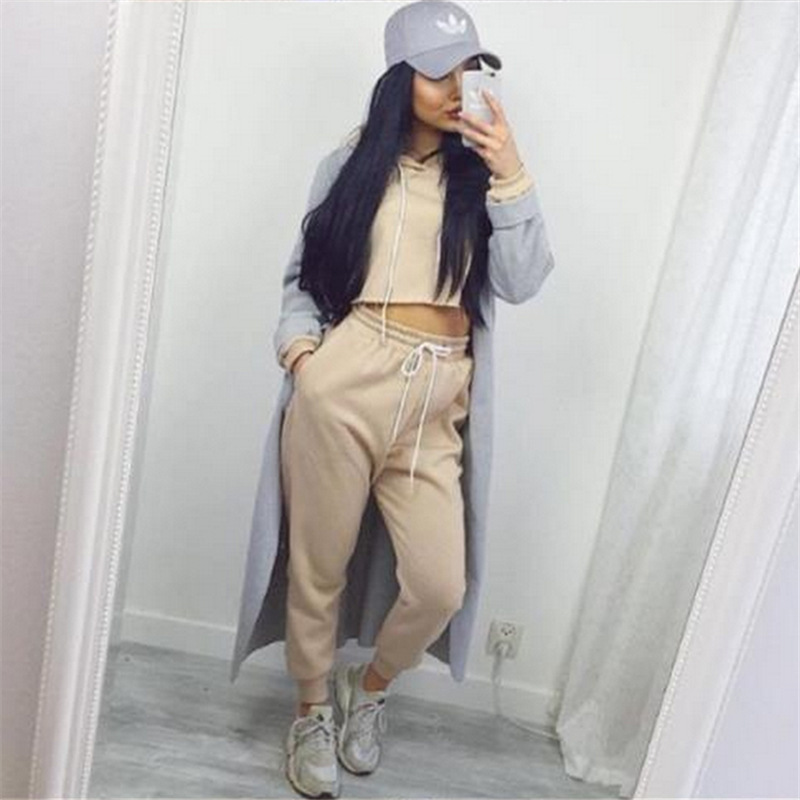 Hoodies fashion tracksuit women 2 pieces suits casual women solid autumn winter women set long Mla winter style fashion set
