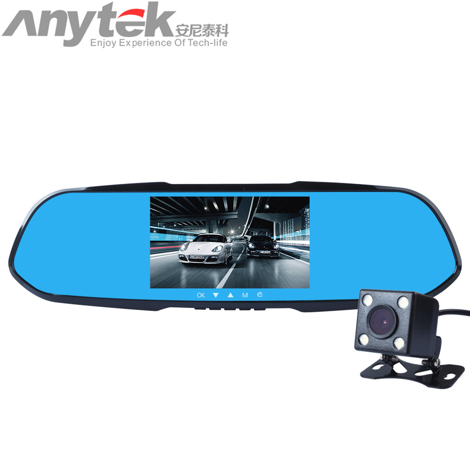 Original Anytek X7 Dual Lens Auto DVR Camera Car Video Recorder Rearview Mirror 1080P G Sensor
