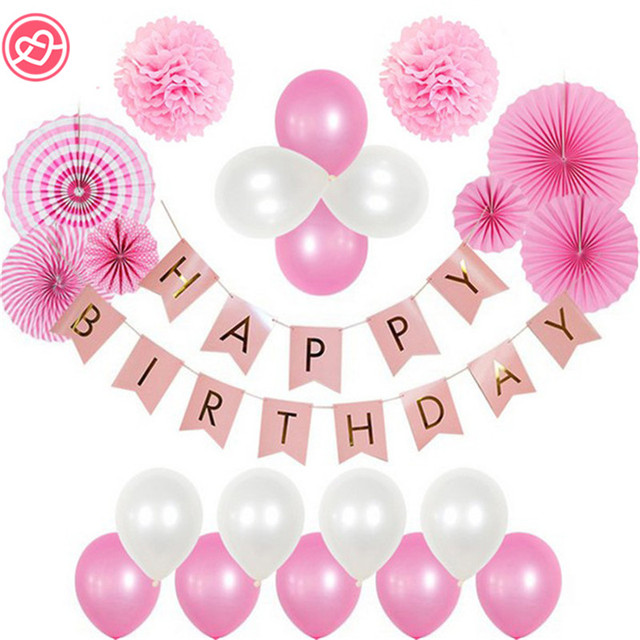 A Set Pink Theme Happy Birthday Decoration DIY Kids Girl Party Favor 20cm Pompoms Flag Banner Balloons Paper Fan