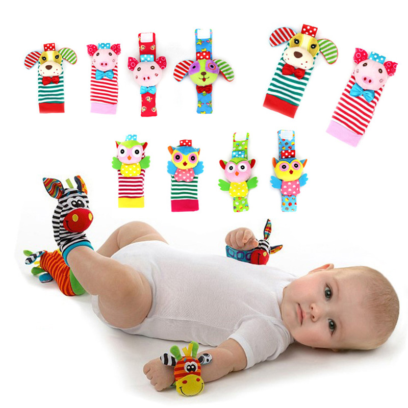 Cartoon Baby Infant Soft Socks Wrist Rattle Set Plush Baby Rattle Educational Newborn Toys Children Boy Girl Foot Rattle Socks