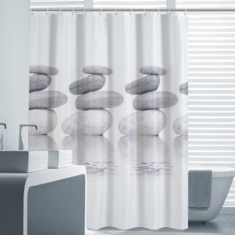 Polyester Shower Curtain Waterproof Bathroom Curtain with Hooks Home Decor Bathroom Accessory Cobblestone 1PC