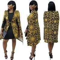New Outfit High End Women Print Dresses Autumn Winter Sexy Dress Golden Party Vestidos Femininos