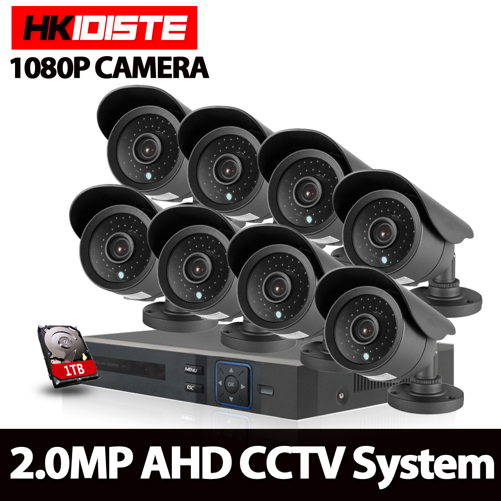 8CH AHD 1080N HDMI DVR 2.0MP HD Outdoor Surveillance Security Camera System 8 Channel CCTV DVR Kit AHD 1080P Camera Set
