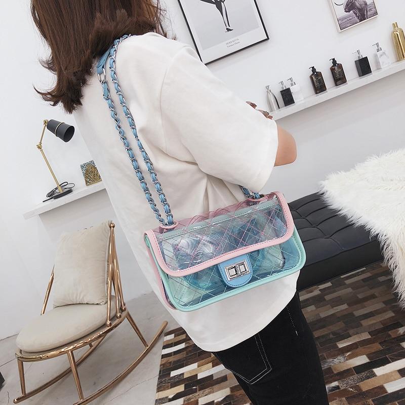 Brand Women Bag Fashion Female Handbag High Quality PU Leather Transparent Shoulder Bag Jelly Chain Candy Color Crossbody Bag