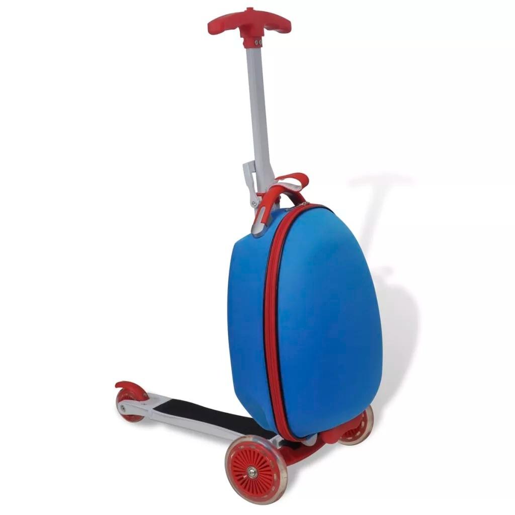 VidaXL Cool 3 roues pied trottinette poignées confortables enfants Scooter avec boîtier de chariot pour enfants bleu