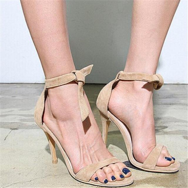 c48139463df Conciso Moda Bowtie Lazo Del Tobillo Sandalias de Las Mujeres 2015 Azul  Lace Up Gladiador Sandalias