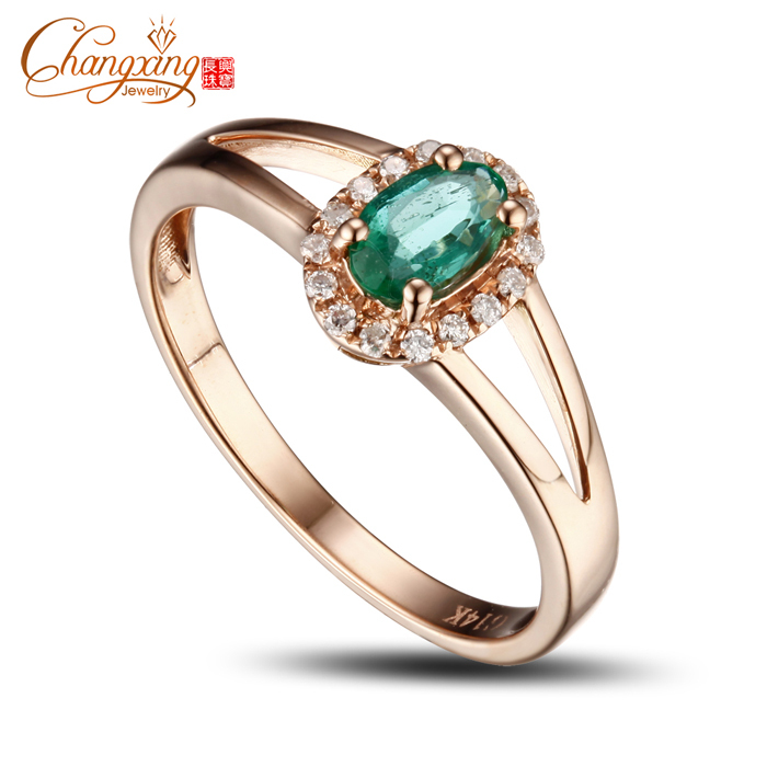 Promotion 4x6mm Colombian Emerald Pave Full Cut Diamond Engagement