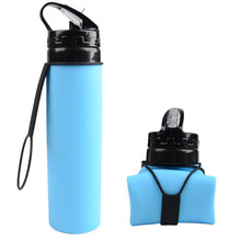 Outdoor Bottles 600ml Eco-Friendly Silicone Travel Sport Flexible Collapsible Water Foldable Drinkware With Straw Bottle
