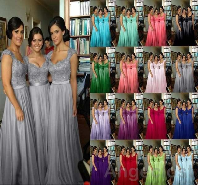 4e3724a2ee6 2017 Convertible Colors Bridesmaid Dresses Long Royal Blue Silver Purple  Sweetheart Cap Sleeve Vestido De Festa