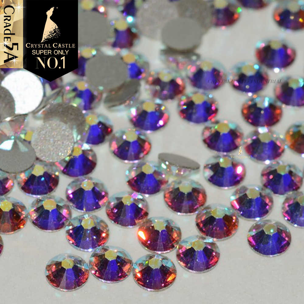 Crystal Castle Nail Art Rhinestones 5A Clear AB Glass Strass Stones and Crystals  Non Hot Fix 7bb55c56099f