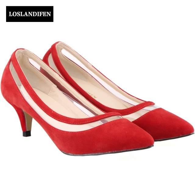 New Arrival Faux Suede Low Heel Red Shoes For Wedding Y Las Pointed Toe Office