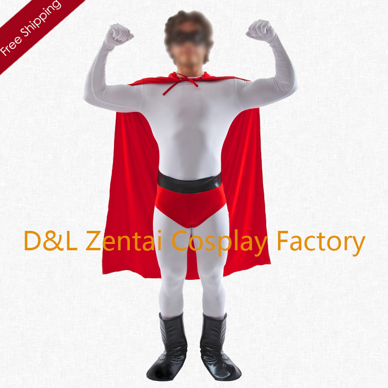 Free Shipping DHL NEW 2017 Fancy Dress Men's White Lycra Superhero Costume For 2016 Halloween Cosplay Costume SHC1337