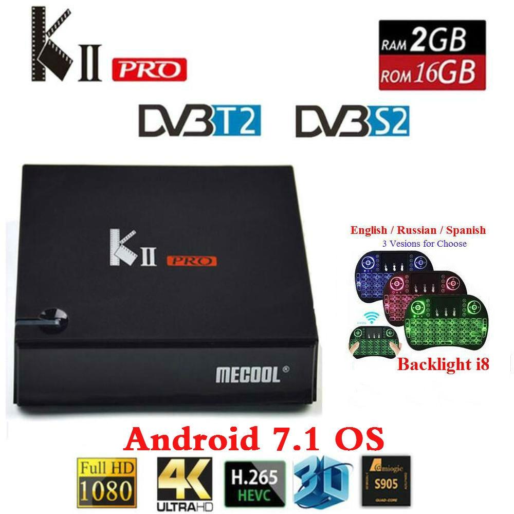 MECOOL KII PRO Android 7.1.1 TV Box DVB-S2 DVB-T2 K2 PRO Amlogic S905D Quad Core 2G16G 4K Cline NEWCAMD 2.4 / 5GHz Dual Wifi kii pro android 5 1 1 tv box built in 2 4g