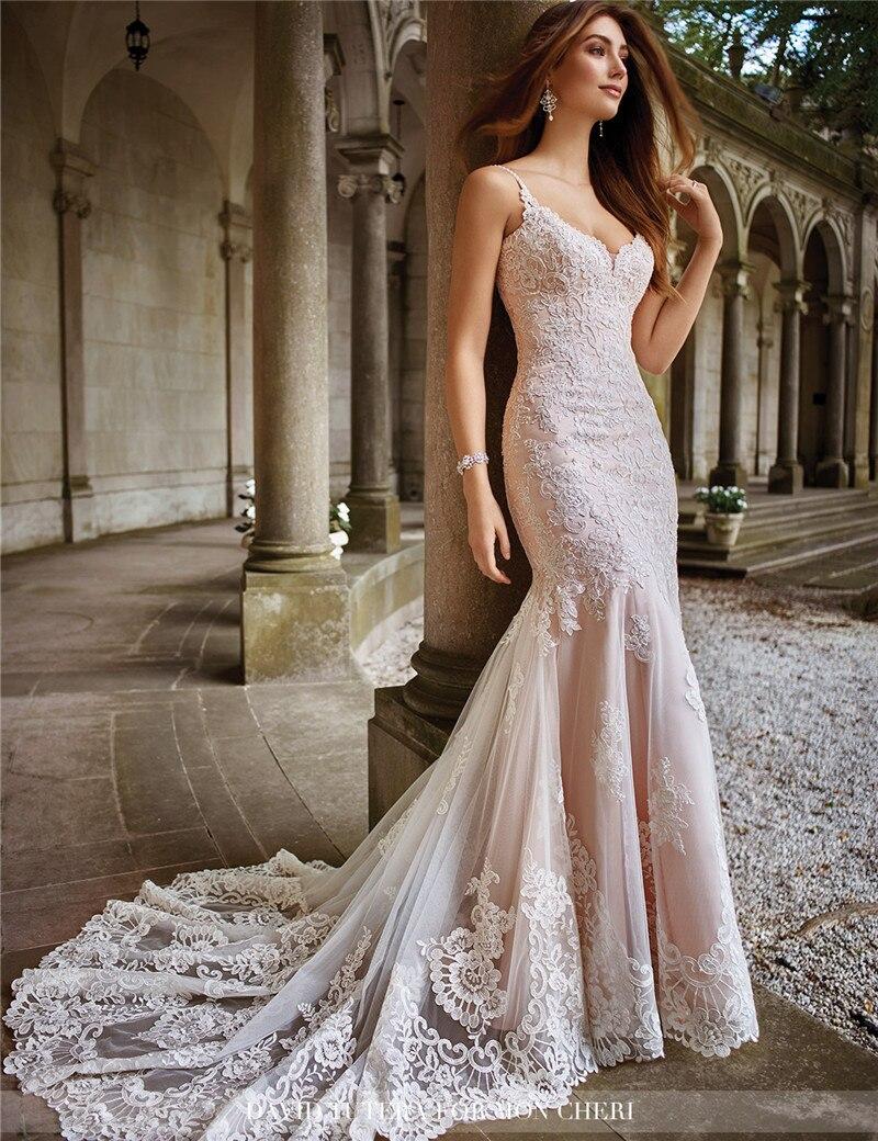 2017 Fashion Champagne Lace Mermaid Wedding Dress Sexy V Neck ...