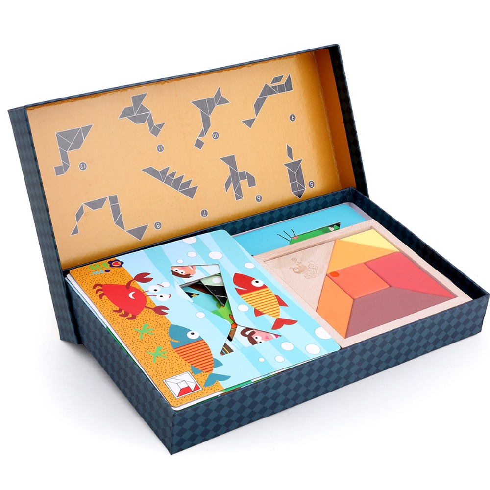 Jouet en bois Montessori Éducation Précoce Puzzle jigsaw puzzle Ensemble 3 couleurs pour garçons et filles cadeaux